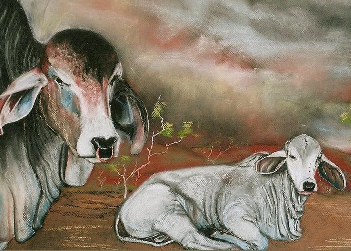 Pastel Painting Greeting Card featuring the painting A Lot Of Bull by Sandra Sengstock-Miller