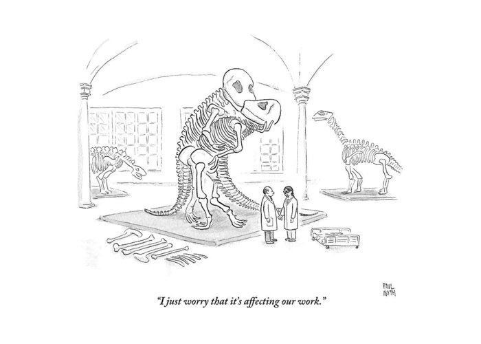 Scientists Greeting Card featuring the drawing A Male And Female Paleontologist by Paul Noth