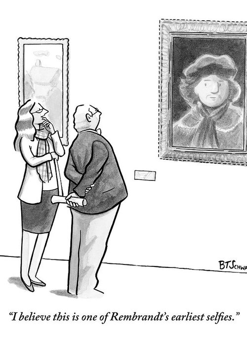 Internet Slang Greeting Card featuring the drawing A Man And Woman Stand In A Museum Looking by Benjamin Schwartz