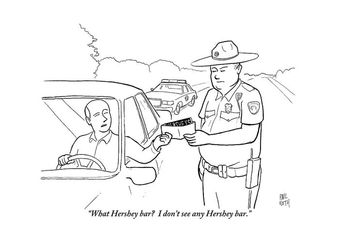 A Man Attempts To Bribe A Traffic Police Officer Greeting Card for ...