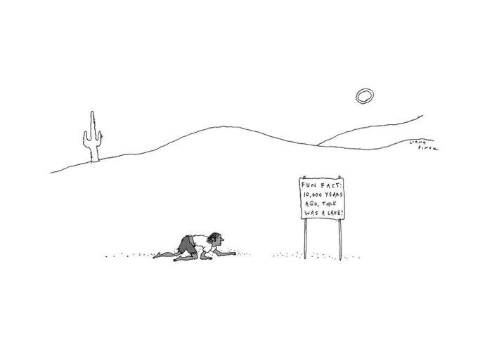 Desert Lake Drawings Greeting Cards
