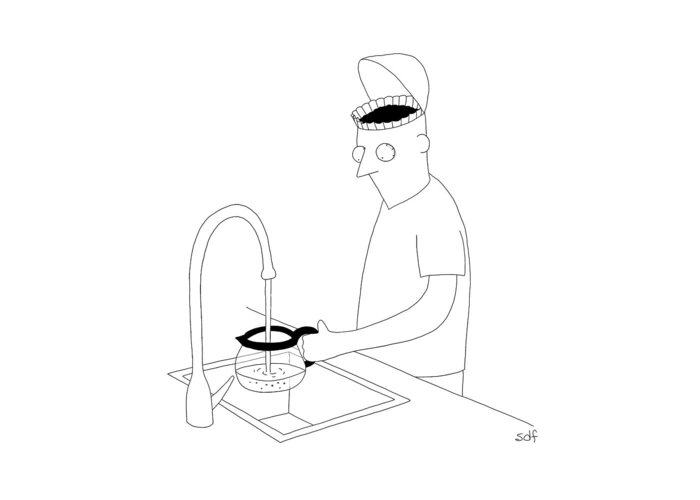 Coffee Greeting Card featuring the drawing A Man Filling Up His Coffee Pot by Seth Fleishman