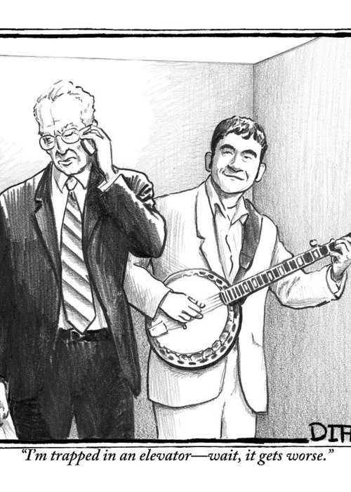 Banjo Greeting Card featuring the drawing A Man In A Business Suit Is Talking On His Cell by Matthew Diffee
