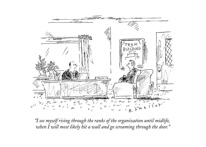 #condenastnewyorkercartoon Greeting Card featuring the drawing A Man Interviews For A Job by Barbara Smaller