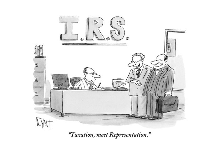 Taxes Greeting Card featuring the drawing A Man Introduces A Lawyer To An Irs Agent by Christopher Weyant
