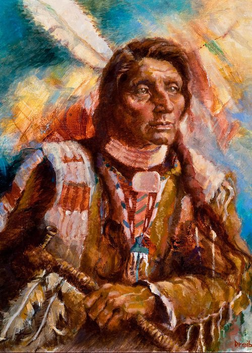 Native American Greeting Card featuring the painting A Man Of Peace by Ellen Dreibelbis