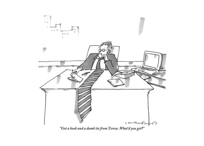 A man sits at his office desk on the phone greeting card for sale by office greeting card featuring the drawing a man sits at his office desk on the phone m4hsunfo