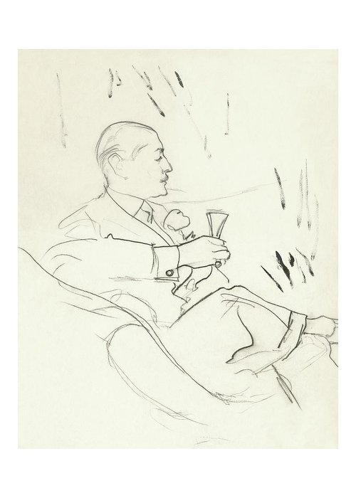 Illustration Greeting Card featuring the digital art A Man With A Glass Of Wine by Carl Oscar August Erickson