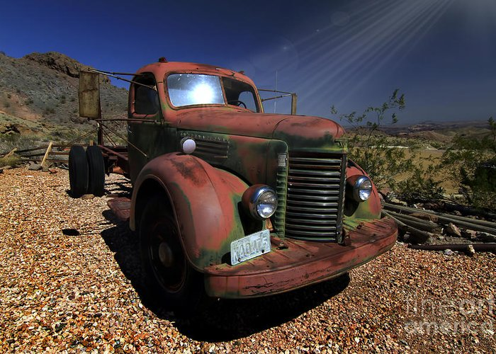 Trucks Greeting Card featuring the photograph A Mans Other Best Friend by Brenda Giasson