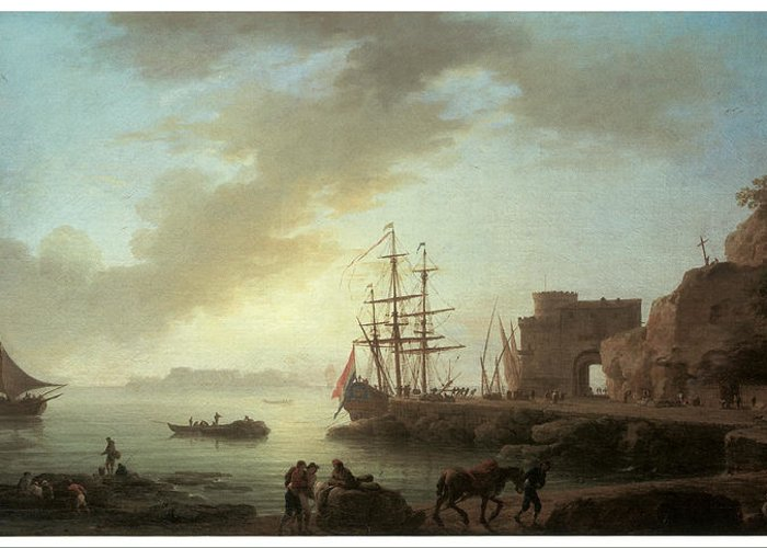 Claude-joseph Vernet Greeting Card featuring the painting A Mediterranean Port At Dawn by Claude-Joesph Vernet