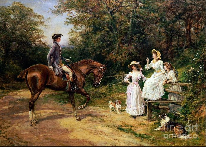 Meeting; Stile; Rural; Countryside; Road; Traveller; Rider; Male; Horse; Mounted; Horseback; Female; Walk; Walking; Polite; Greeting; Dogs; 18th; Girls; Gentleman; Romance; Romantic; Politeness; Society Life; 19th; 20th; Dirt Road; Path Greeting Card featuring the painting A Meeting By A Stile by Heywood Hardy