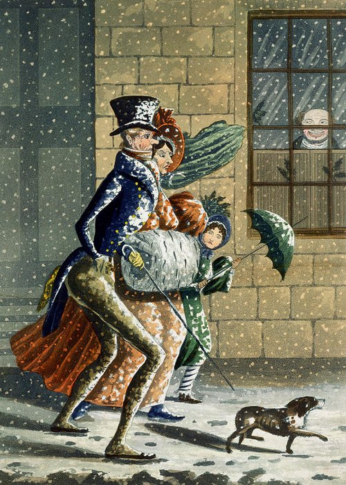 Snow Greeting Card featuring the painting A Merry Christmas And Happy New Year by W Summers