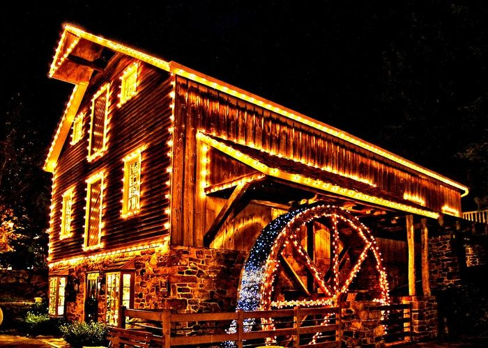 New Hope Greeting Card featuring the photograph A Mill In Lights by DJ Florek