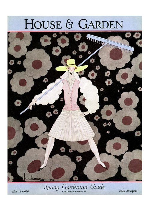 House And Garden Greeting Card featuring the photograph A Model With A Rake by Georges Lepape