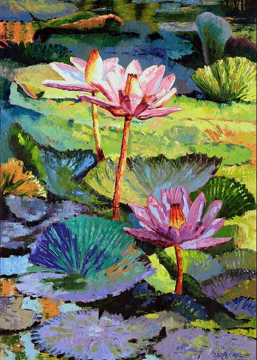 Water Lilies Greeting Card featuring the painting A Moment In Sunlight by John Lautermilch