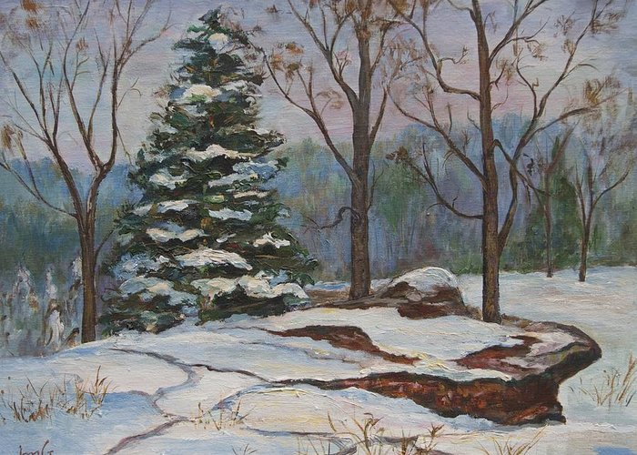 Tall Evergreen Greeting Card featuring the painting A Moment Of Peace by Inger M Grieve
