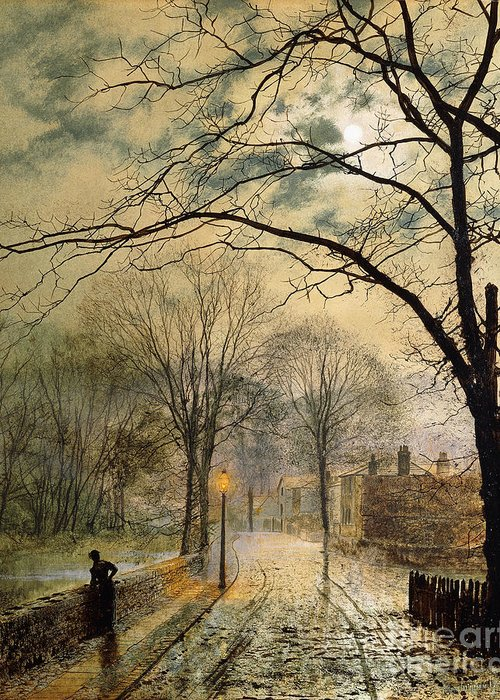 British Greeting Card featuring the painting A Moonlit Stroll Bonchurch Isle Of Wight by John Atkinson Grimshaw