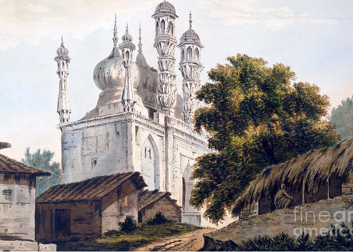 Indian Greeting Card featuring the drawing A Mosque At Gazipoor by William Hodges