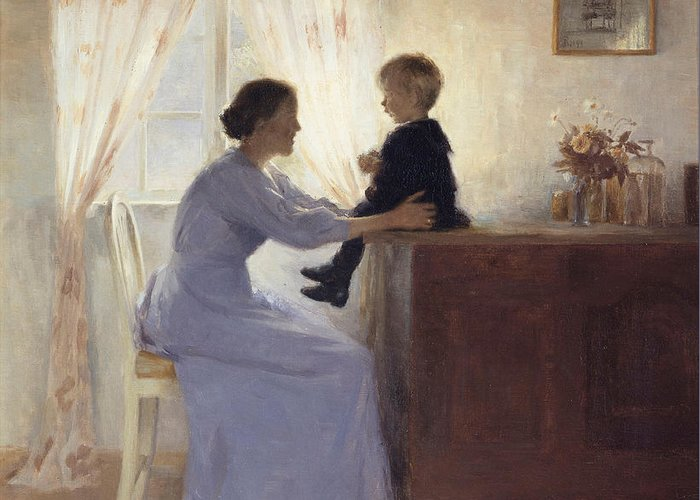 Mothers Greeting Card featuring the painting A Mother And Child In An Interior by Peter Vilhelm Ilsted