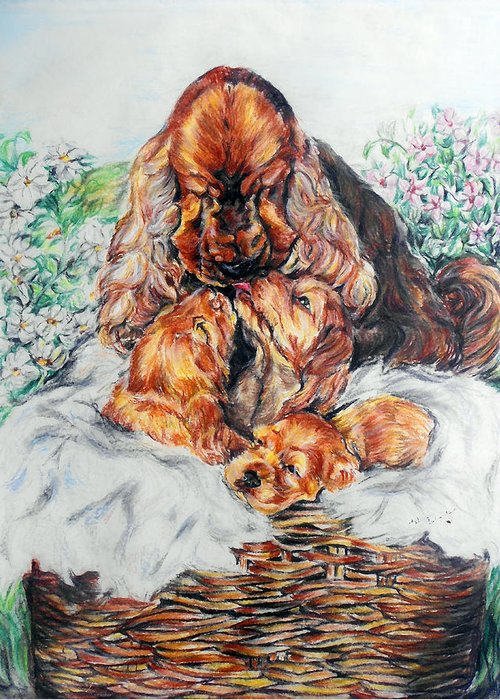 Dog Greeting Card featuring the painting A Mother's Love by Melanie Alcantara Correia