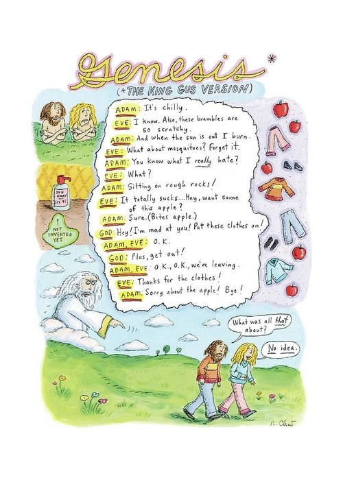 Adam Greeting Card featuring the drawing A Narrative Is Seen Detailing The Events Leading by Roz Chast