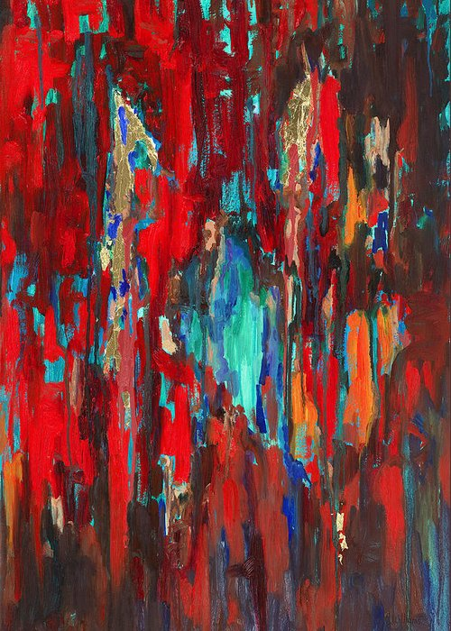 Abstract Art Greeting Card featuring the painting A New Beginning by Billie Colson