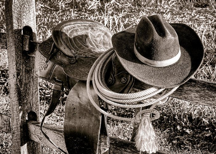 Rodeo Greeting Card featuring the photograph A New Workday For The Cowboy by Olivier Le Queinec