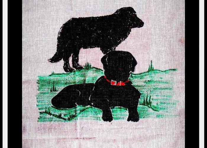A Newfoundland Dog And A Labrador Retriever Greeting Card featuring the digital art A Newfoundland Dog And A Labrador Retriever by Barbara Griffin