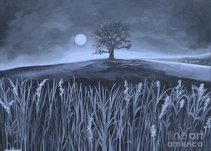 Plains Greeting Card featuring the painting A Night At The Plains by Nereida Rodriguez