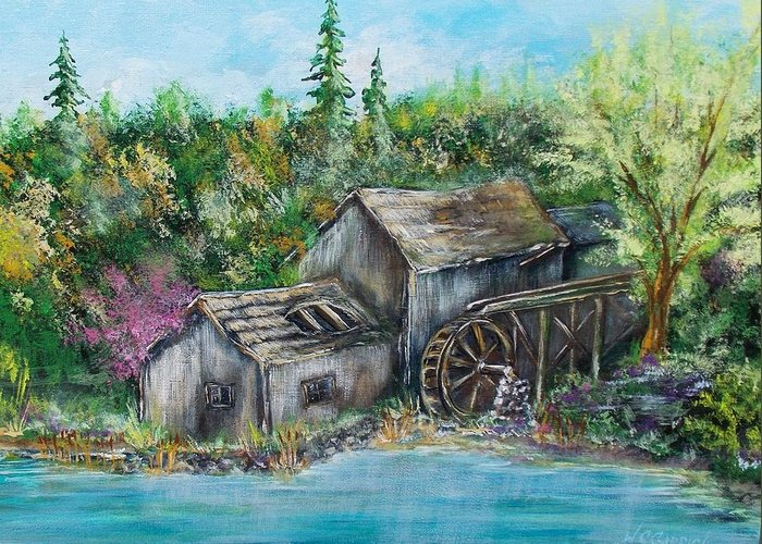 Mill Greeting Card featuring the painting A Old Mill by Walter Carrick