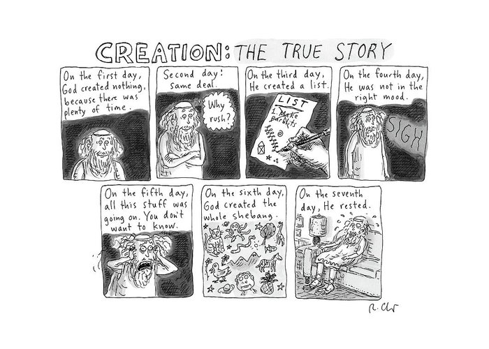 Captionless Bible Greeting Card featuring the drawing A Panel Called Creation: The True Story Which by Roz Chast