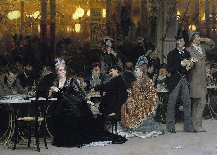 Parisian; Cafe; Paris; France; French; Male; Female; Group; Leisure; Entertainment; Bourgeois; Bourgeoisie; Flaneur;al Fresco; Seated; Standing; Society Life; Elegant; Stylish; Fashionable; Modernity; Milieu; Scandal; Scandalous; Unaccompanied; Unchaperoned; Alone; Waiting; Black Dress; Gown; Mourning; Widow; Gossip; Disapproving; Defiant; Direct Gaze; Parasol; Tables; Lamps; Drinking; Talking; Conversation; Lively; Shock; Shocked; Shocking; Conspicuous; Flaneuse; Watching; Confrontational; Bar Greeting Card featuring the painting A Parisian Cafe by Ilya Efimovich Repin