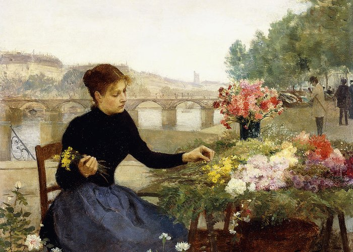 Victor Gabriel Gilbert Greeting Card featuring the painting A Parisian Flower Market by Victor Gabriel Gilbert