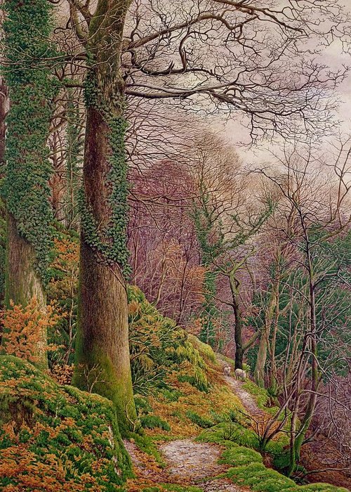 Moss Greeting Card featuring the painting A Path In The Wood by Edward Bentley
