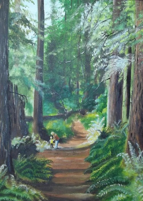 Oil Greeting Card featuring the painting A Peaceful Walk In The Redwoods by Terry Godinez