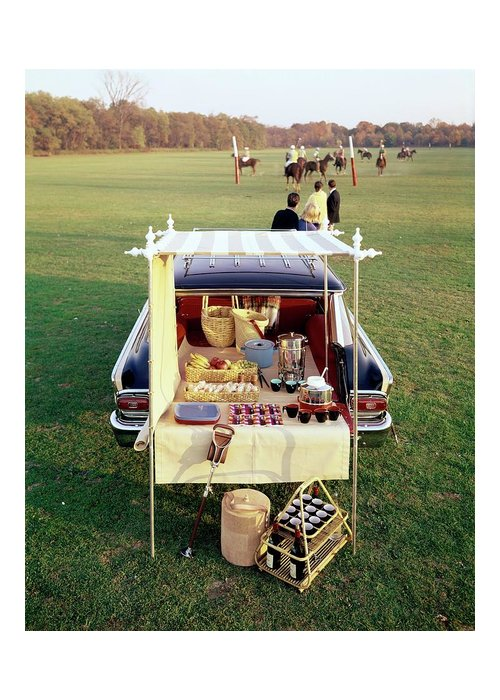 Food Greeting Card featuring the photograph A Picnic Table Set Up On The Back Of A Car by Rudy Muller