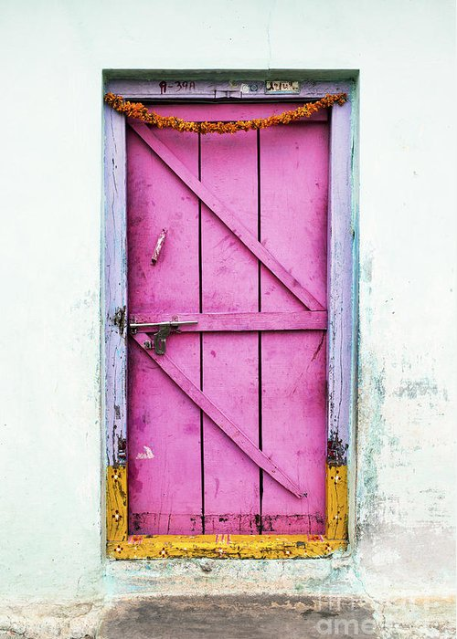 Old Greeting Card featuring the photograph A Pink Door by Tim Gainey
