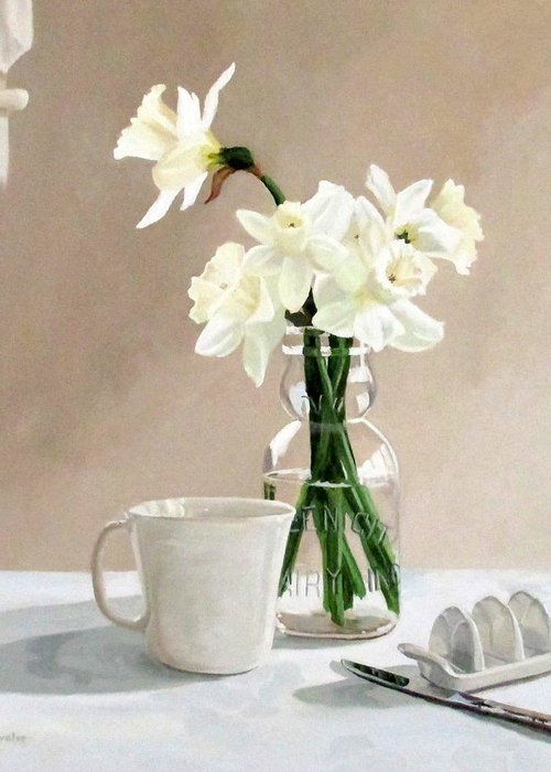 Daffodils Greeting Card featuring the painting A Pint Of Daffodils by Sandra Chase
