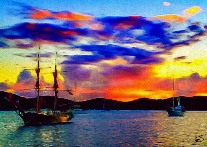 Sunset Greeting Card featuring the digital art A Pirate's Sunset by Jennifer Simpson