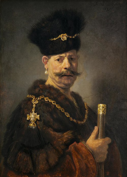 Rembrandt Greeting Card featuring the painting A Polish Nobleman by Rembrandt