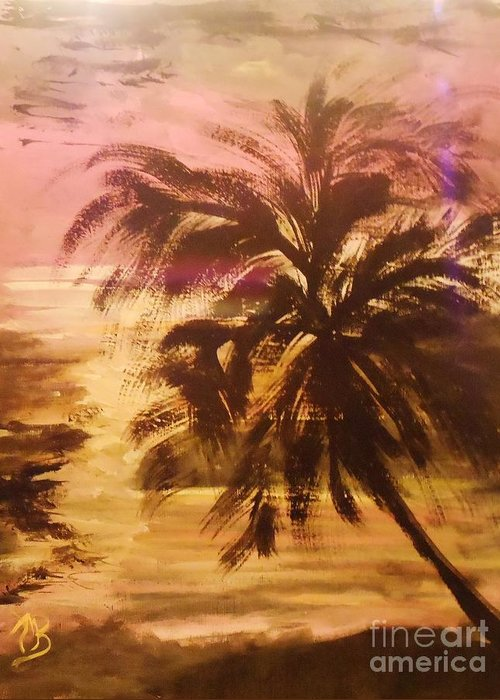 Palm Greeting Card featuring the painting A Popular Tropical Scene by Marie Bulger