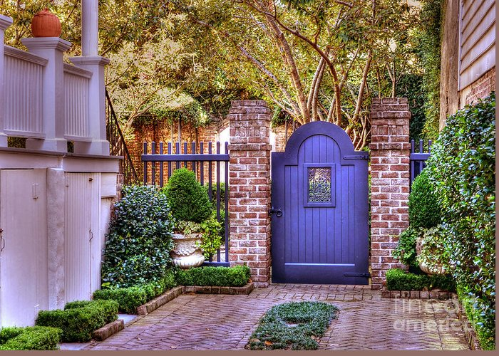 Garden Greeting Card featuring the photograph A Private Garden In Charleston by Kathy Baccari