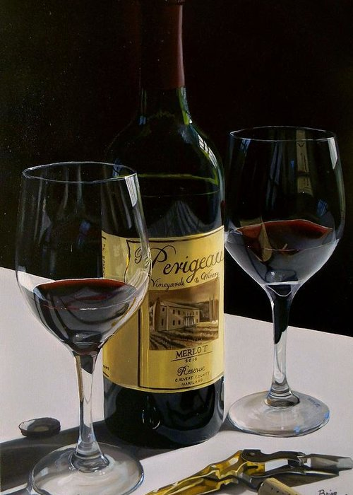 Wine Art Greeting Card featuring the painting A Private Reserve by Brien Cole