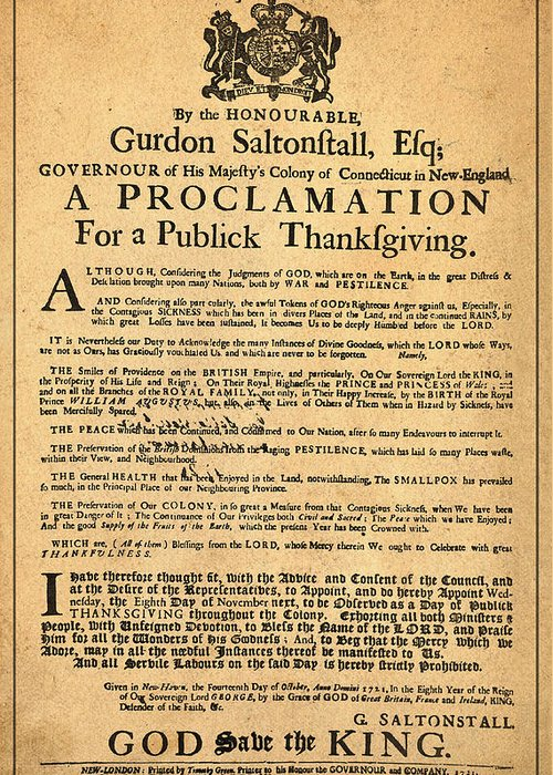A Proclamation Of Thanksgiving Greeting Card featuring the photograph A Proclamation Of Thanksgiving by Digital Reproductions