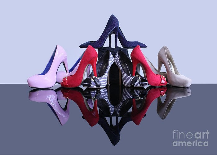 Stiletto High Heeled Shoes Greeting Card featuring the photograph A Pyramid Of Shoes by Terri Waters