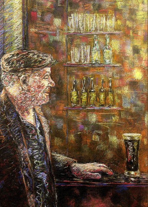 Pastel Greeting Card featuring the pastel A Quiet Guinness by John Nolan