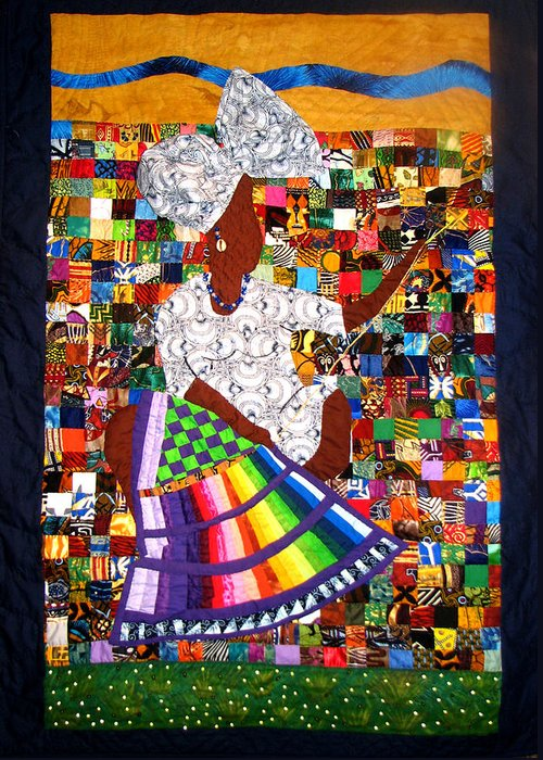 Art Quilt Greeting Card featuring the tapestry - textile A Quilter's Dream by Aisha Lumumba