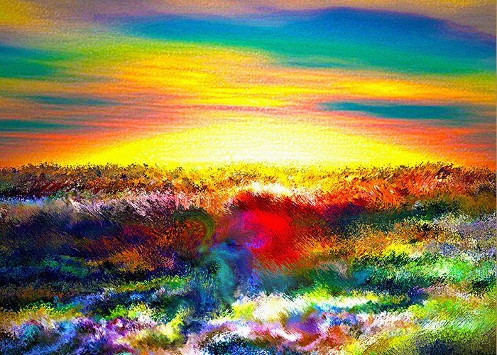 3d Greeting Card featuring the digital art A Rainbow Paisley Sunrise V.3 by Rebecca Phillips