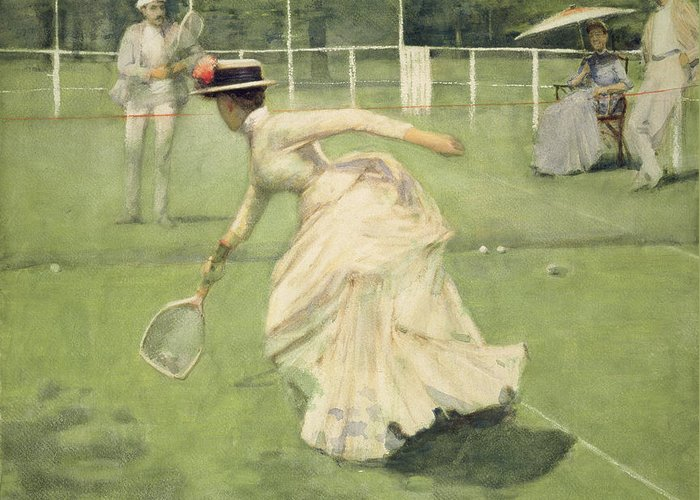 Tennis Game Greeting Card featuring the drawing A Rally, 1885 by Sir John Lavery