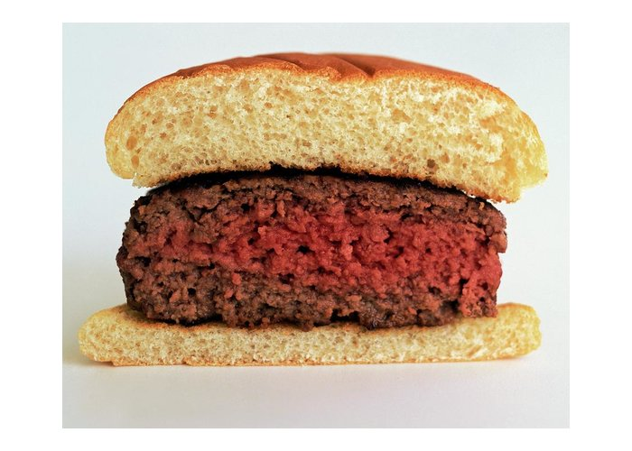 Cooking Greeting Card featuring the photograph A Rare Hamburger by Romulo Yanes
